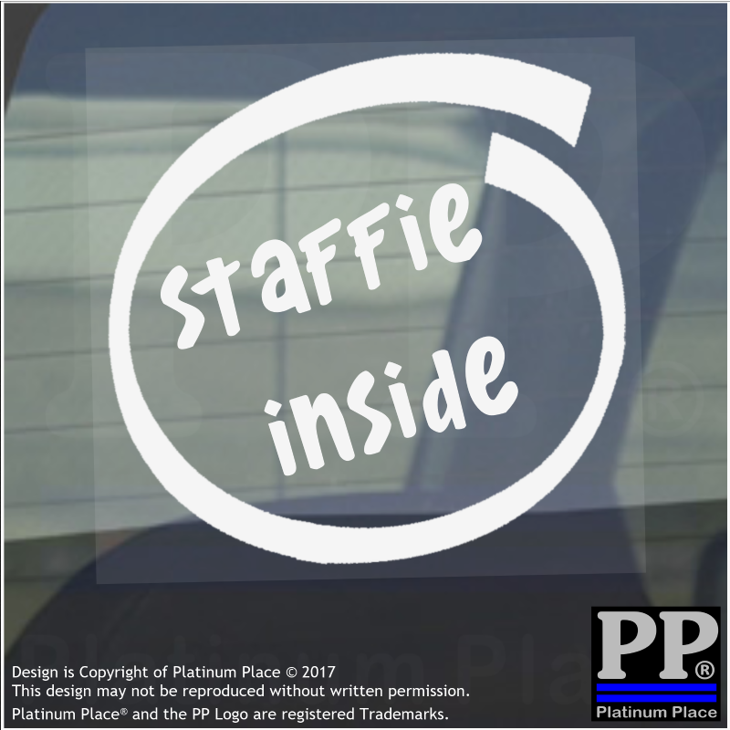 1 x Staffie Inside-Window,Car,Van,Sticker,Sign,Adhesive,Dog,Pet,Bull,Terrier